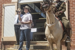 4739 - Peter Tesch, Australia's Ambassador to Russia - opens the Candelo show, guarded by Brittany Meers of Bemboka 7th Light Horse.