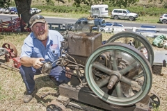4873 - Phillip Targett of the Bega & District Historical Machinery Club with his 1920 stationery engine.